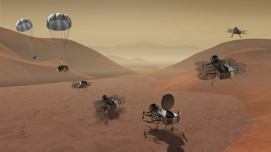 NASA graphic showing Dragonfly mission arriving on Saturn's moon Titan, and flying in its atmosphere.